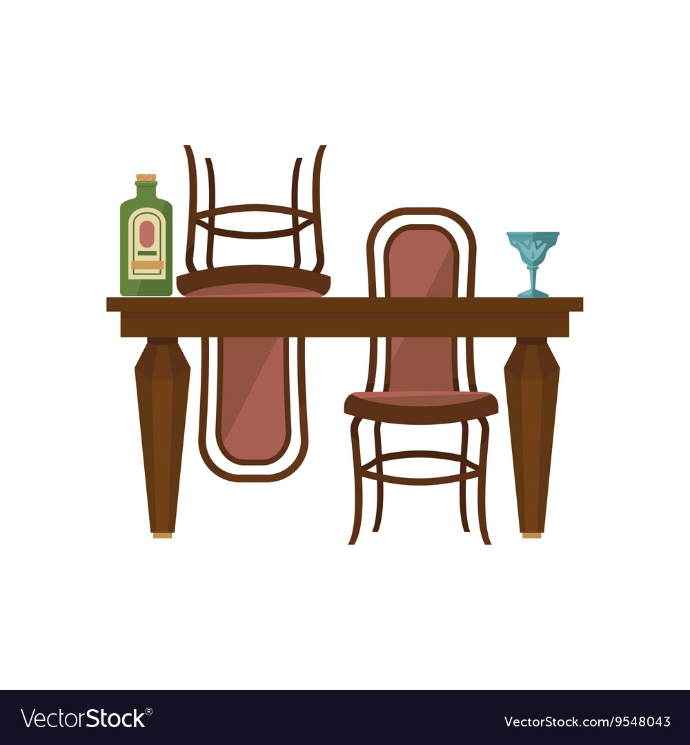 Antique Wooden Dining Table And Chairs Vector Image