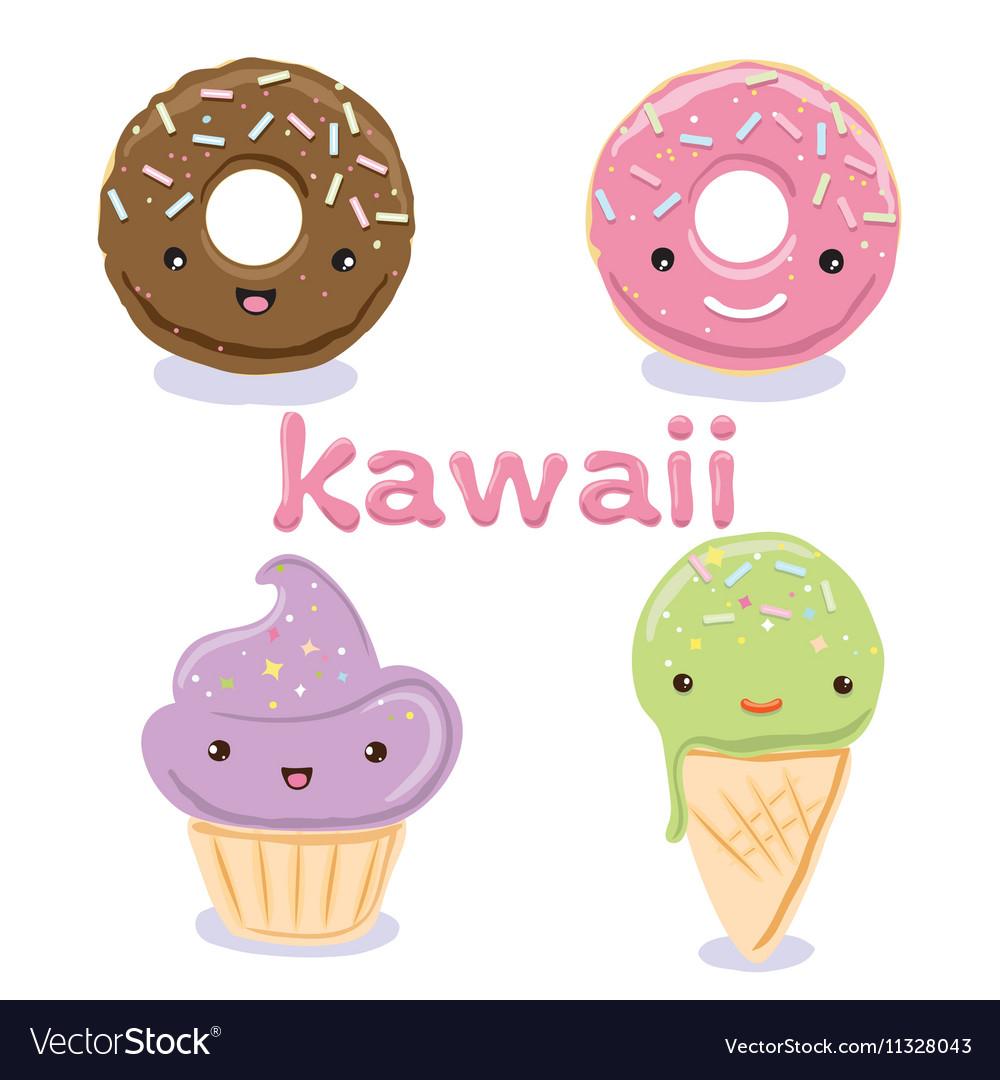 Cute Kawaii food characters set collections vector image