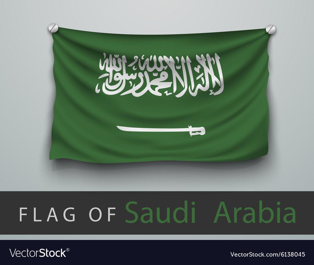 FLAG OF Saudi Arabia battered hung on the wall vector image