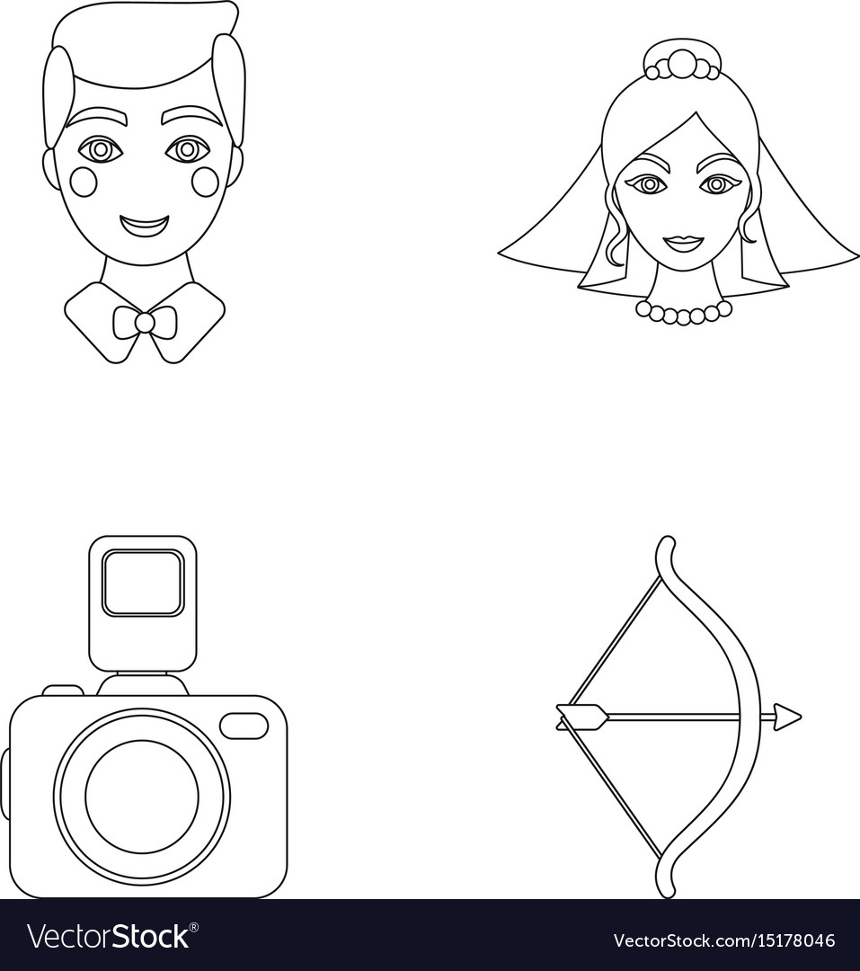 Groom bride photographing arrow of the cupid vector image