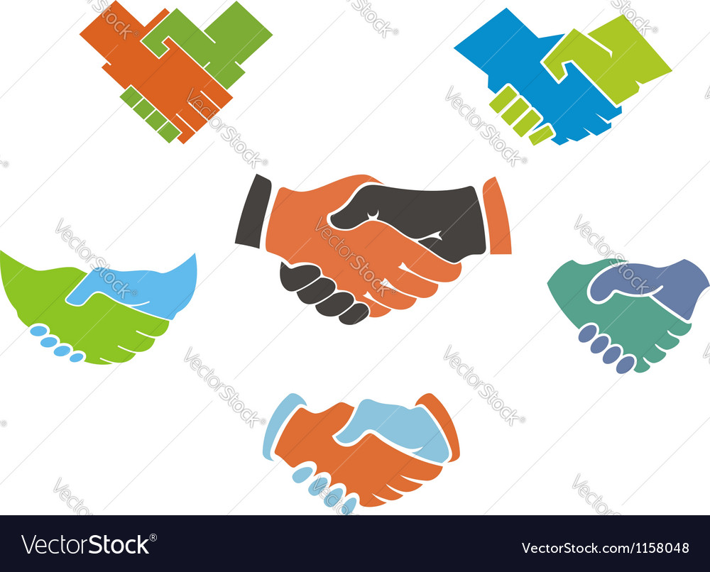 Business handshake symbols and icons vector image