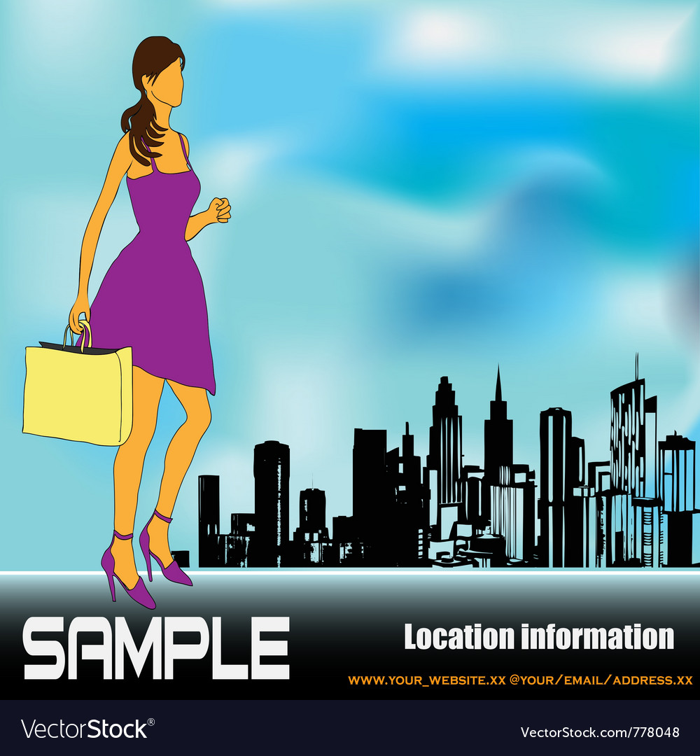 Big city shopping vector image