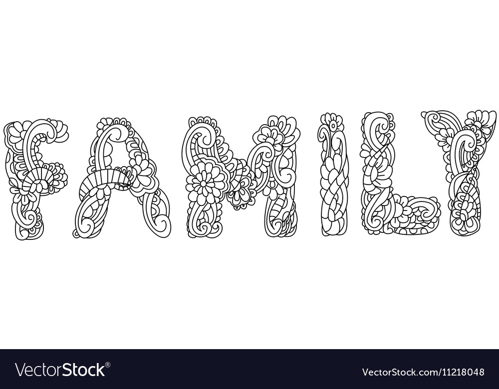 Family inscription coloring vector image