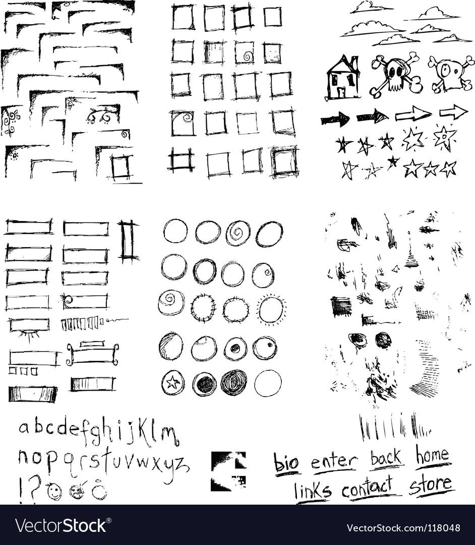 Pen scribbles vector image