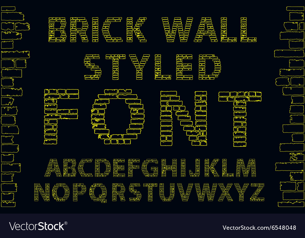 Yellow empty decorative brick wall style font vector image