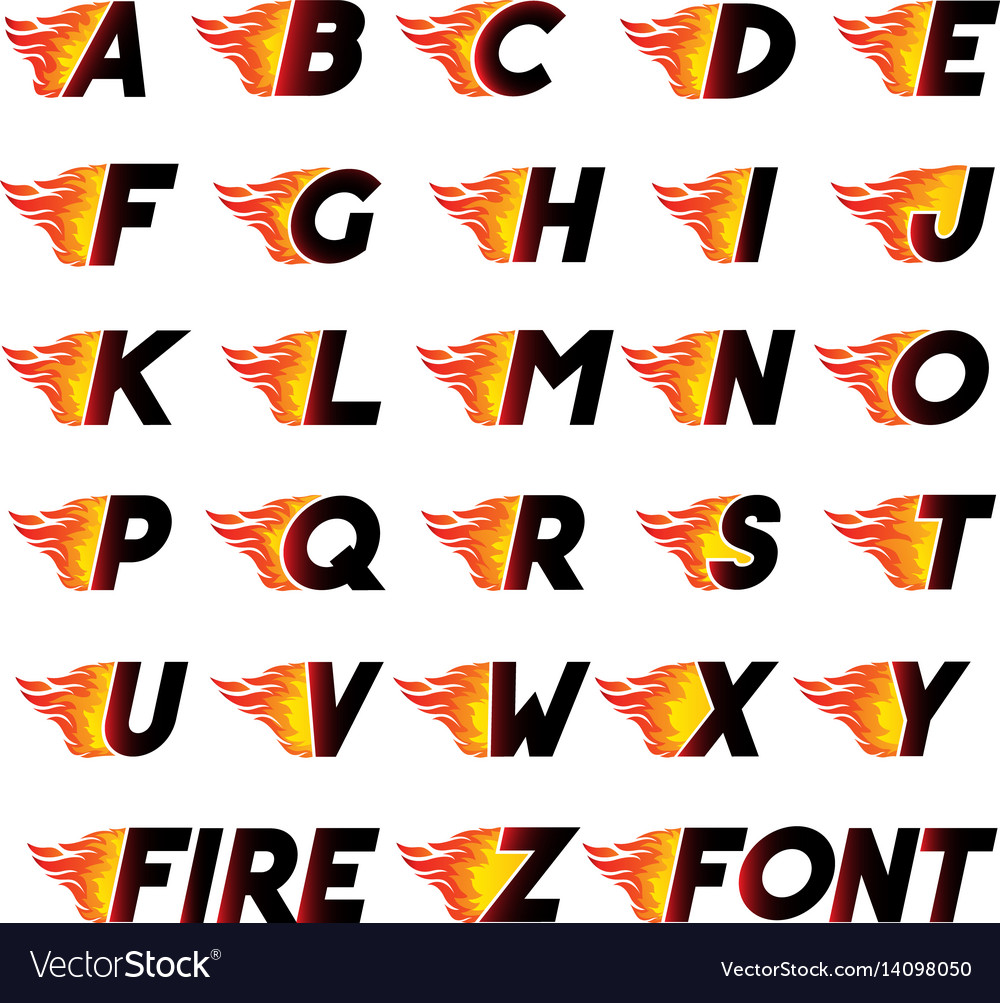 Fire and high speed font vector image