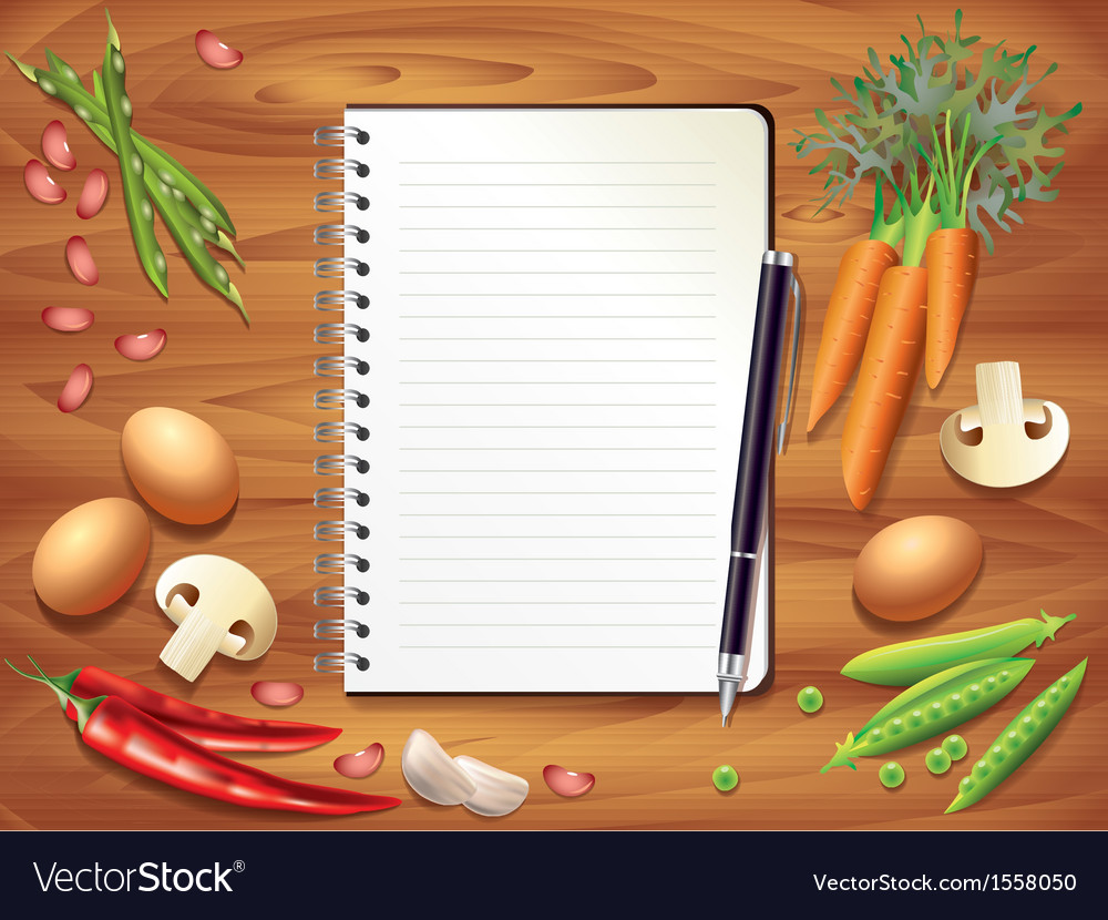 Kitchen recipe background vector image