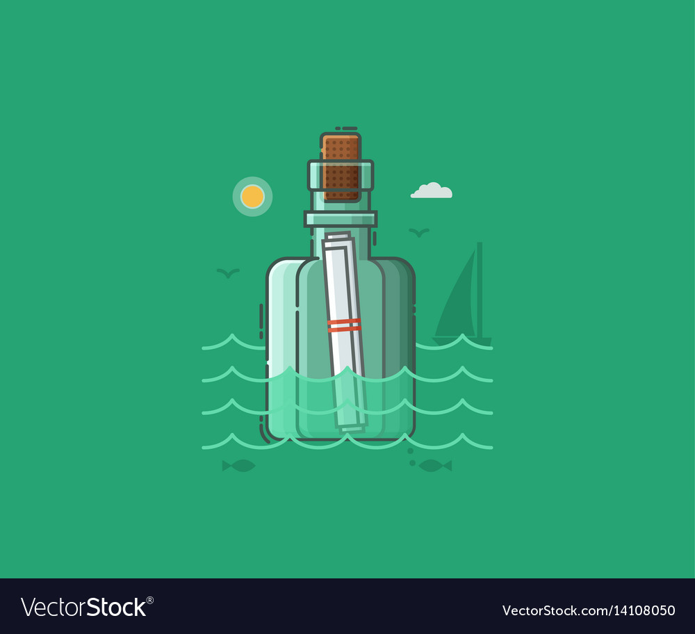 Message bottle with note vector image