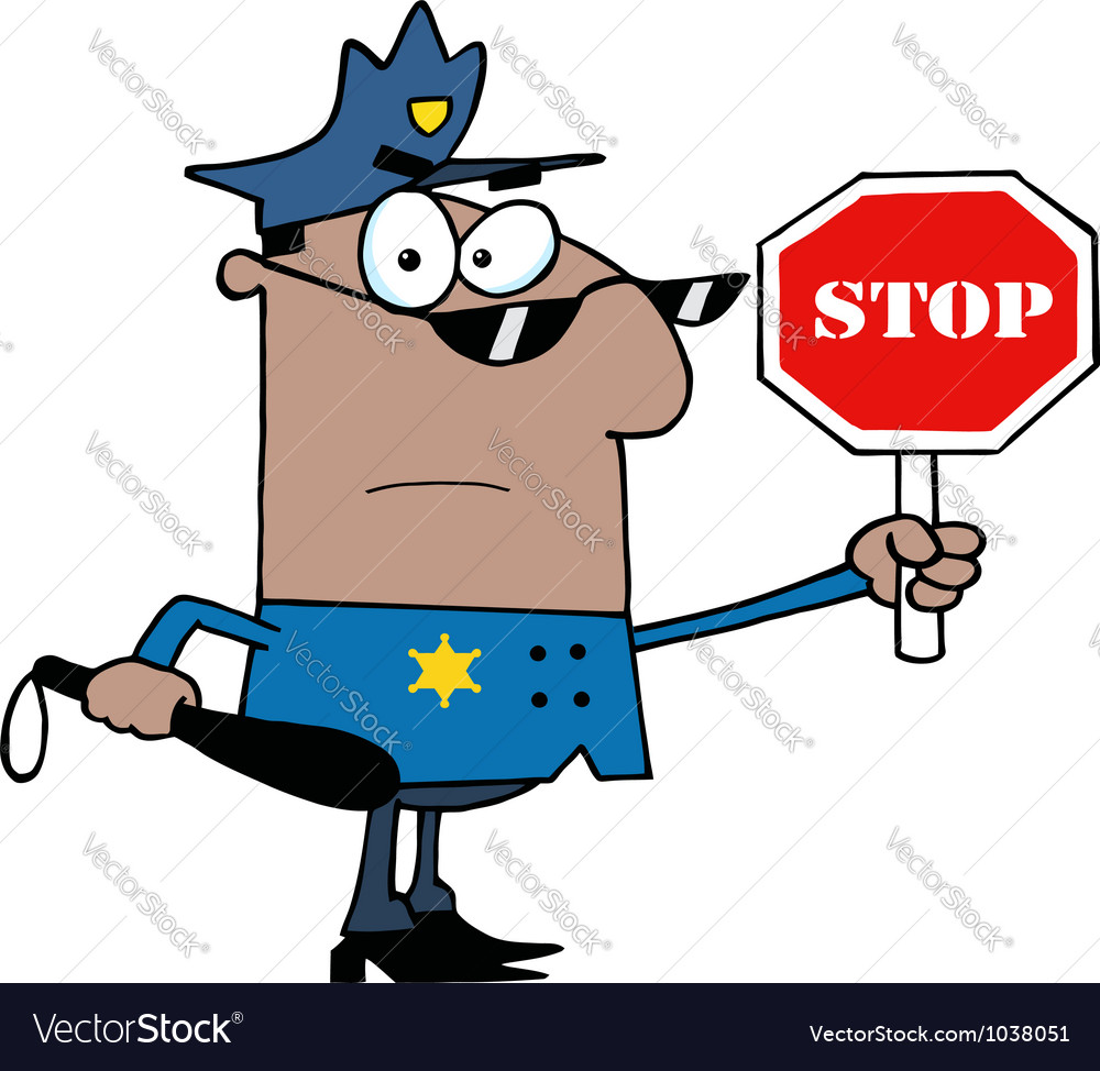African American Traffic Police Officer vector image