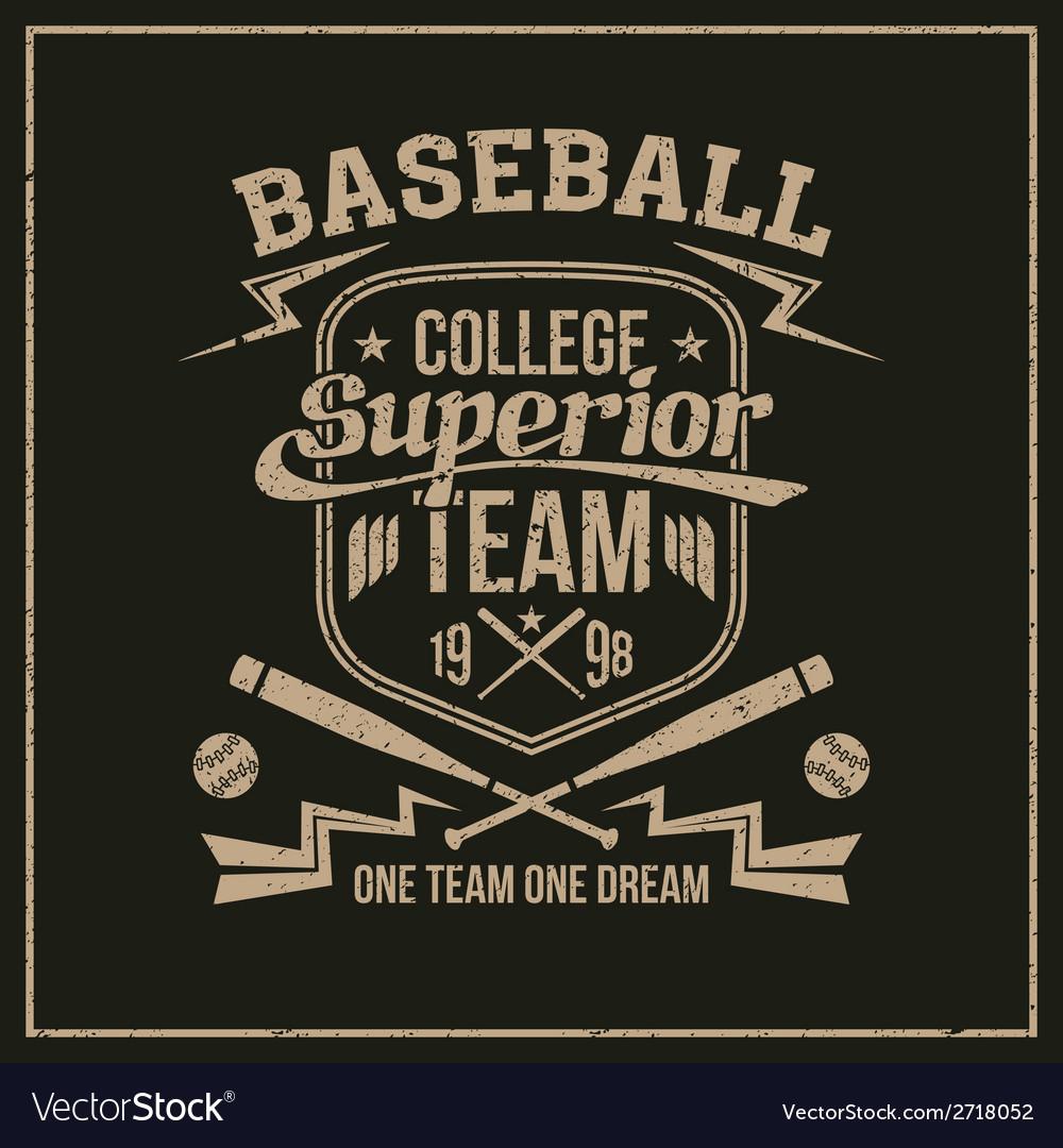 College baseball team emblem vector image