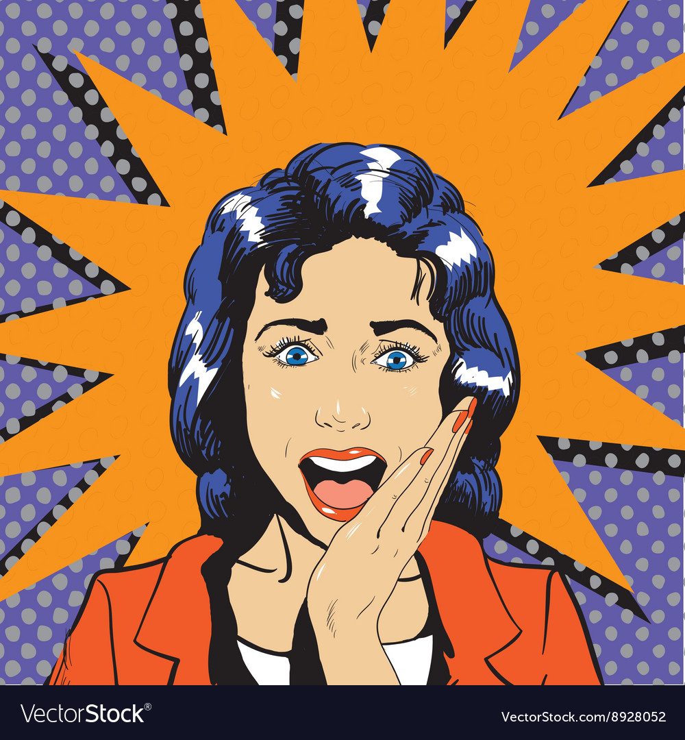 Surprised woman face with open mouth vector image