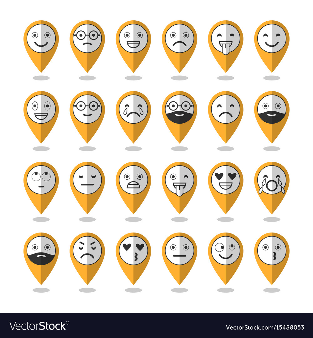 Emoticons flat icons smile with a beard vector image