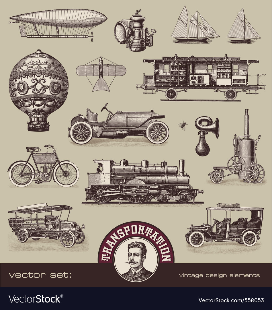 Vintage means of transportation vector image