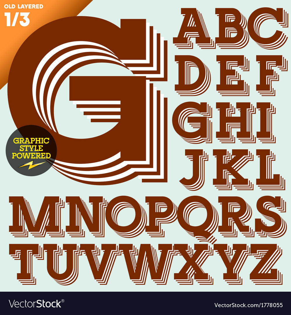 An old fashioned alphabet vector image