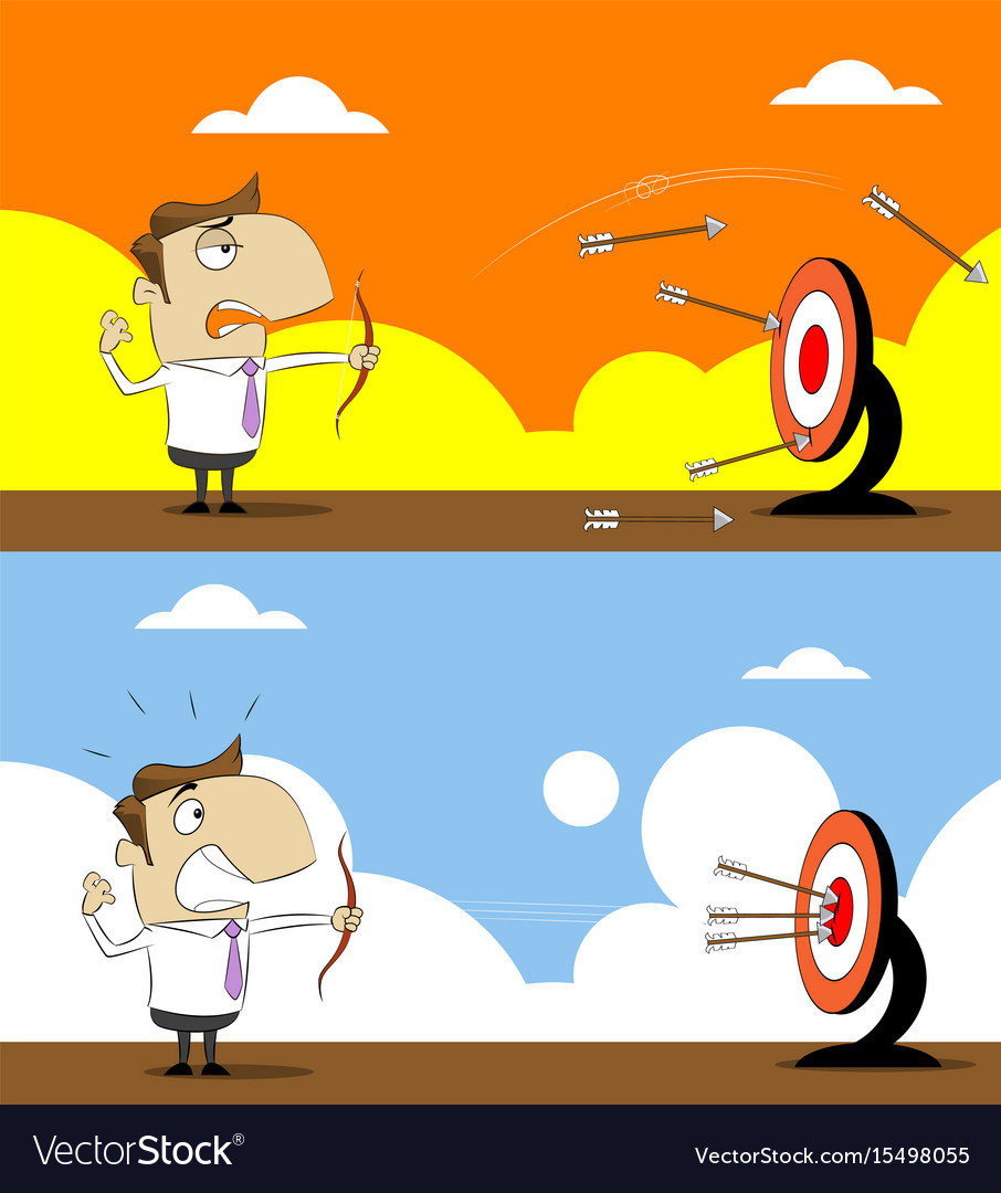 Cartoon businessman with shooting at target vector image