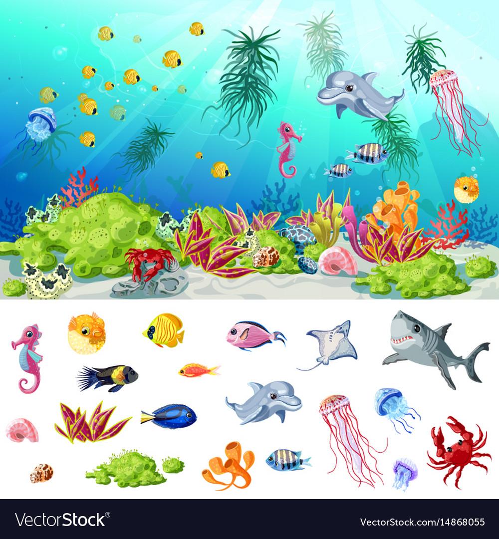 Cartoon sea and ocean life concept vector image