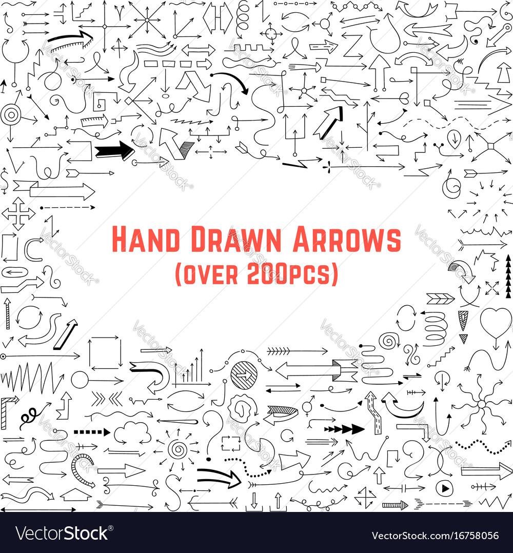 Set of black hand drawn arrows vector image