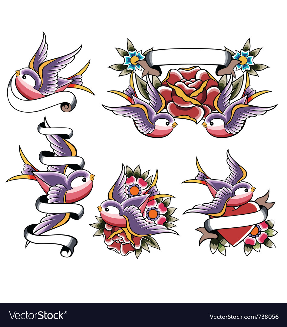 Swallow tattoo design vector image