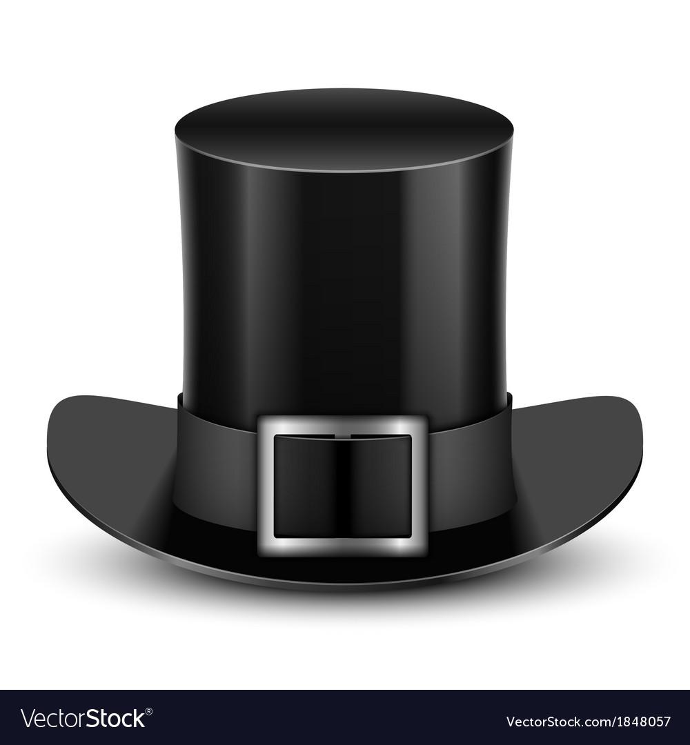 Black Top Hat With Metallic Buckle vector image