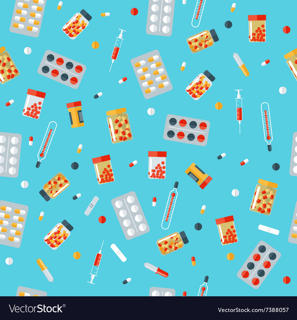 Medical Pills Seamless Pattern Health Care vector image