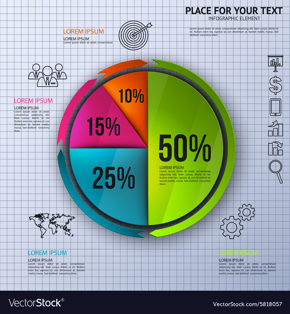 Pie chart business statistics with icons vector image geenschuldenfo Choice Image