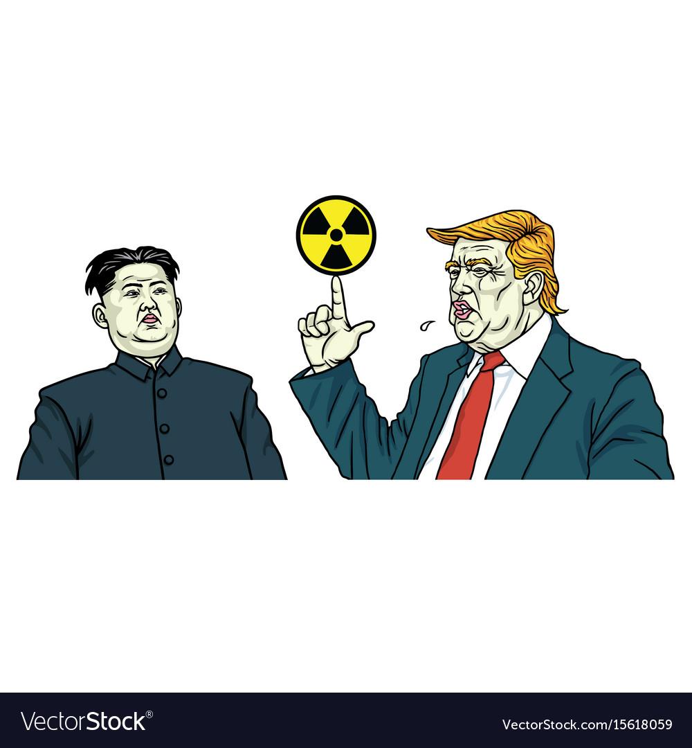 Donald trump and kim jong un portrait vector image