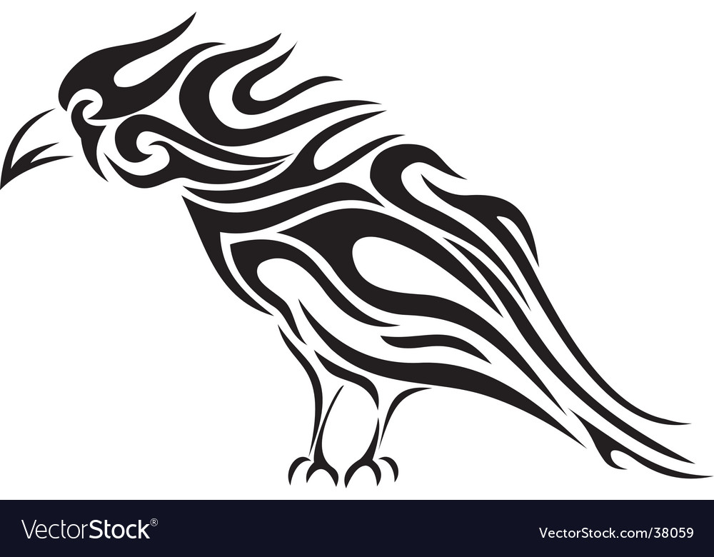 Raven tribal tattoo vector image