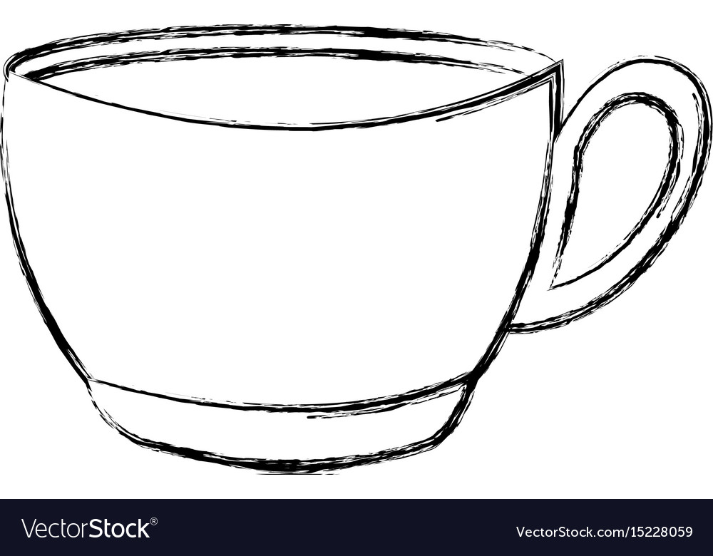 sketch draw coffee cup cartoon vector image