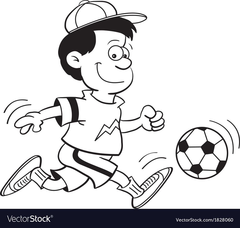 Cartoon Boy Playing Soccer vector image