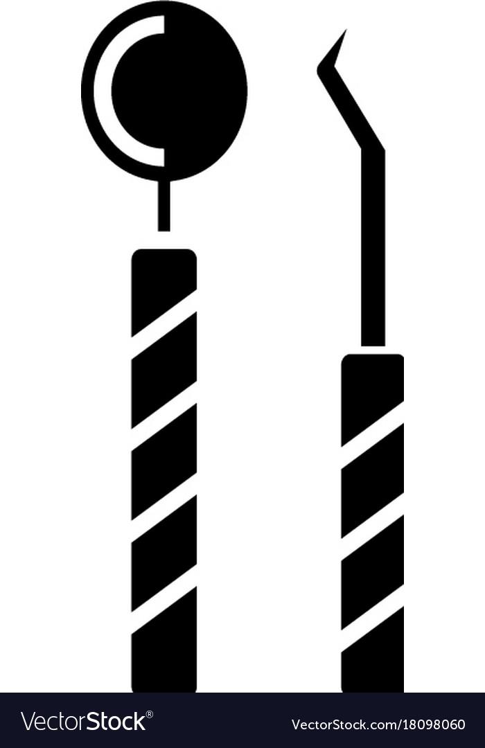 Dentist tools icon black vector image