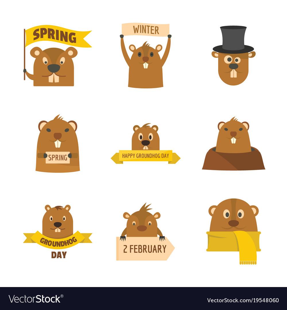 Groundhog day happy logo icons set flat style Vector Image