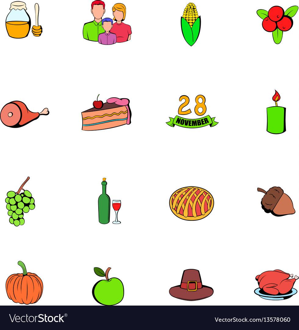 Thanksgiving day set icons set cartoon vector image