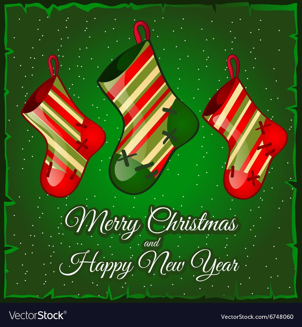 Three darned sock for Christmas gift vector image