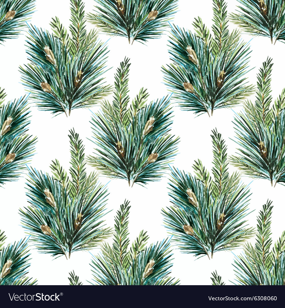 Watercolor christmas tree pattern vector image