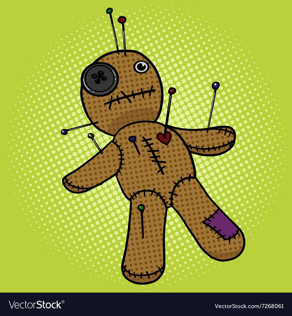 Voodoo Doll pop art style vector image