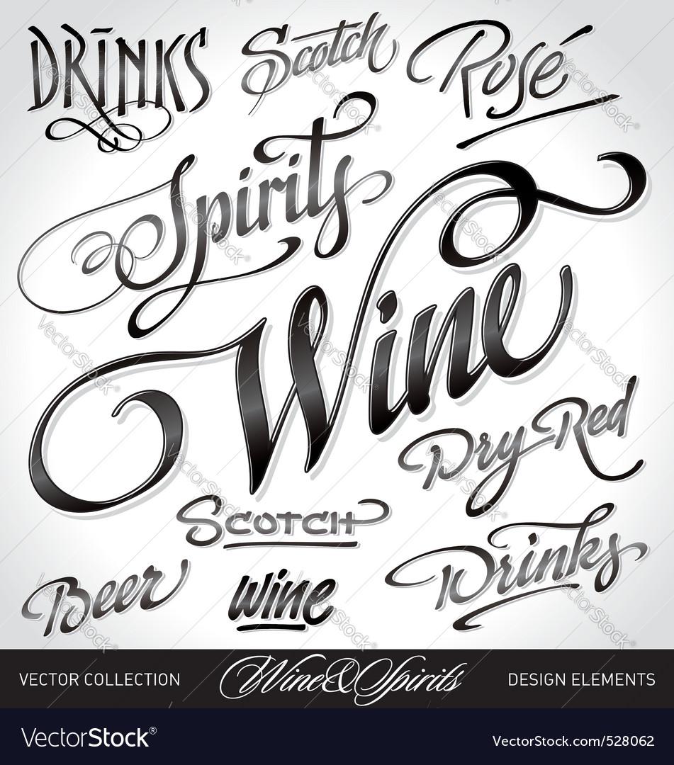 Beverage headlines set vector image