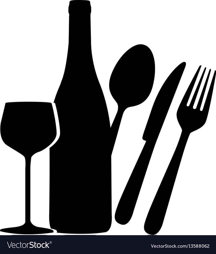 Black wine bottle glass and cutlery icon vector image