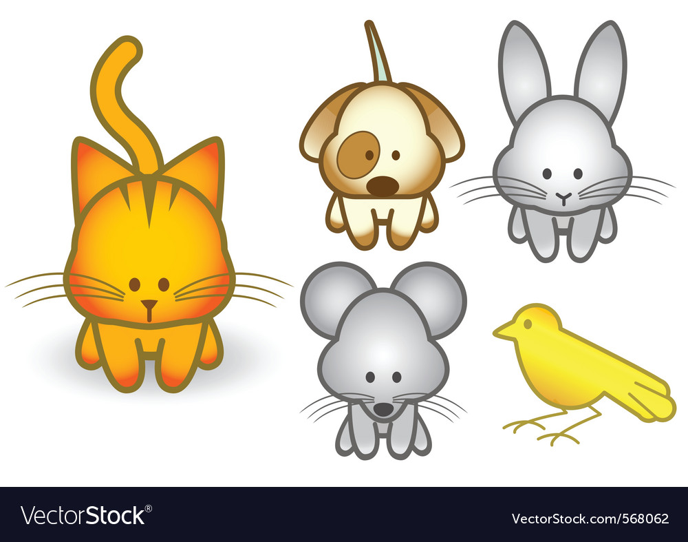 Cartoon pet animals set vector image