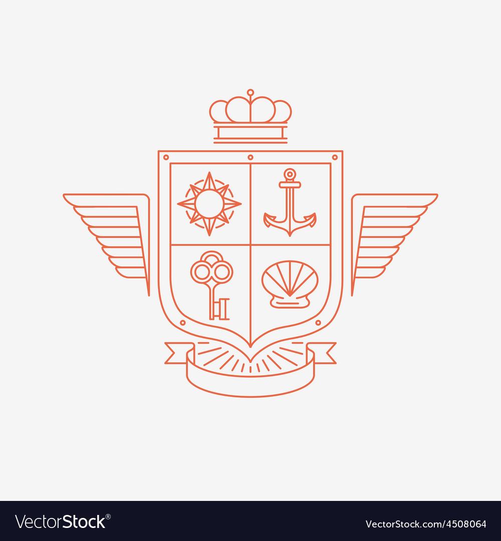 Linear heraldry symbols vector image