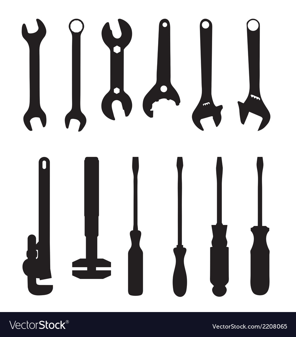 Screwdriver and screw wrench vector image