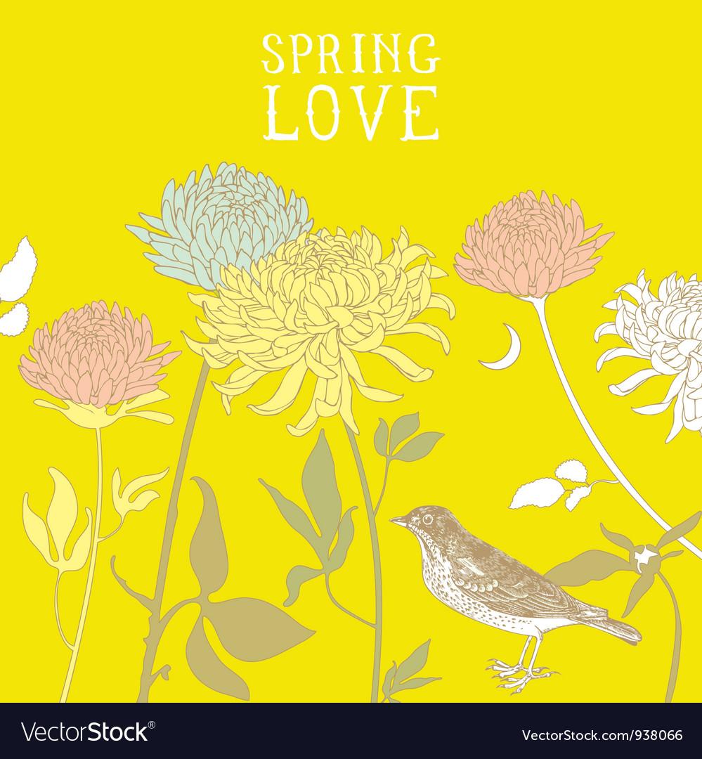Vintage Spring Birds Background Vector Image