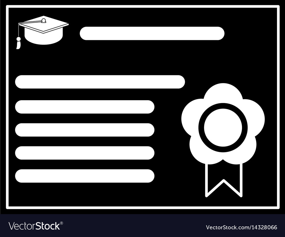 Certificate diploma school pictogram vector image