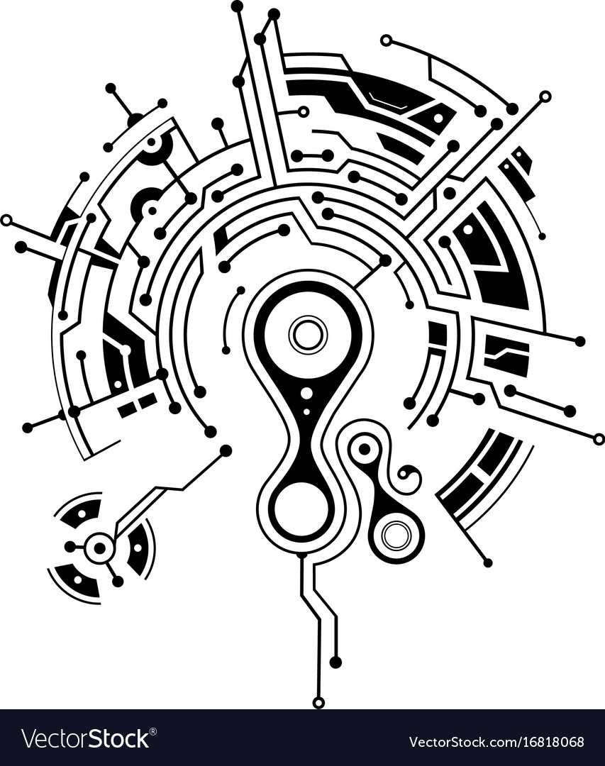 elegant tattoo with circuit board elements vector image. Black Bedroom Furniture Sets. Home Design Ideas