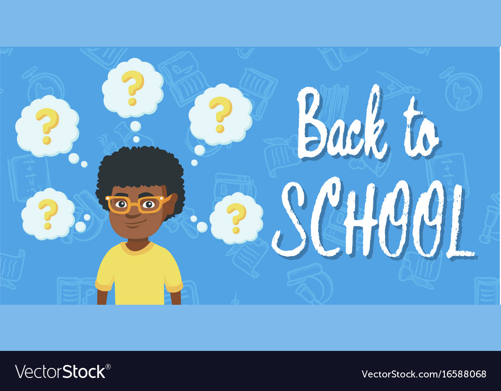 Thinking african boy with question marks vector image