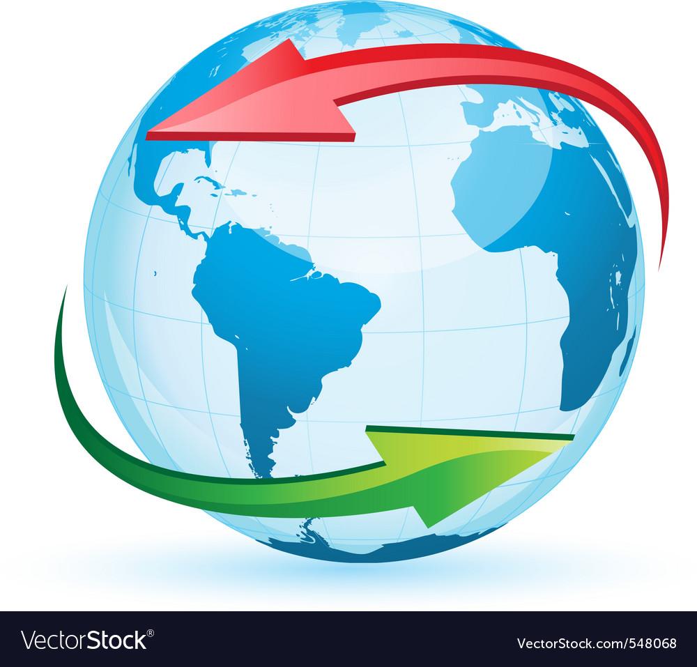World Globe Map Royalty Free Vector Image VectorStock - World globe map