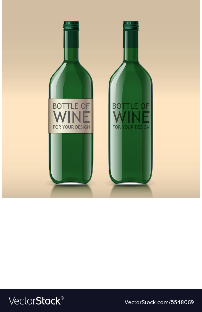 Realistic sample of empty green bottles vector image