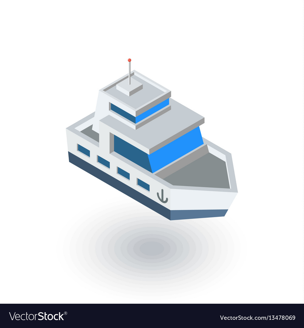 Yacht boat isometric flat icon 3d vector image