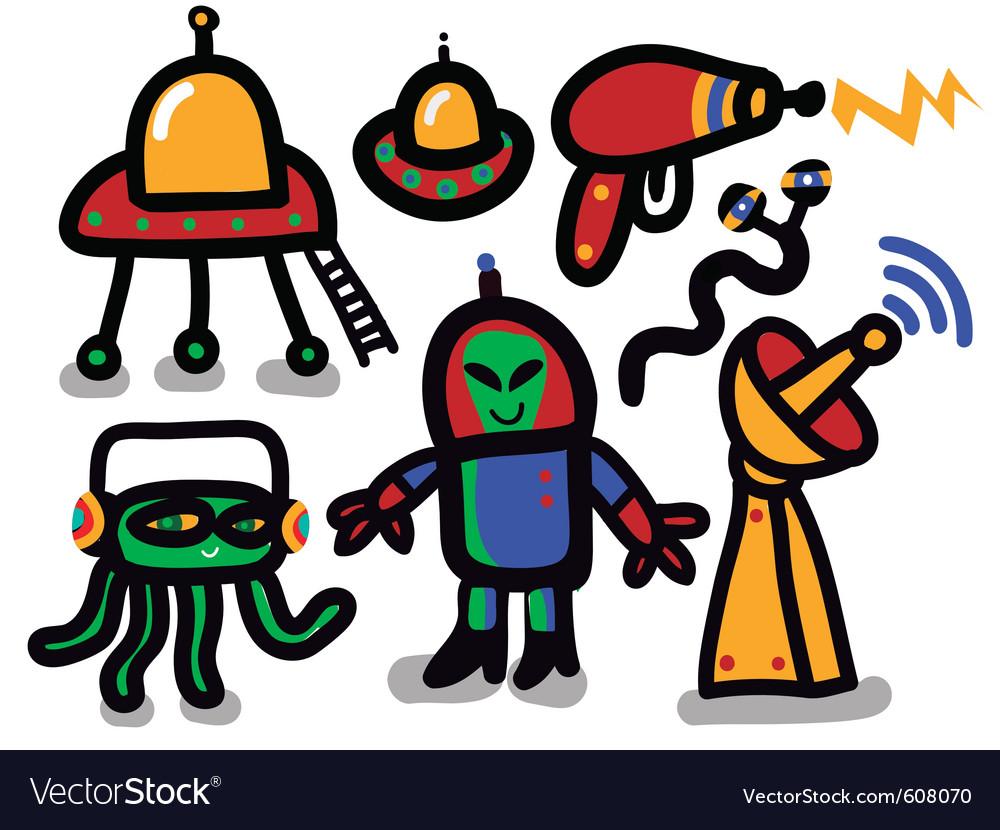 Alien icon set vector image
