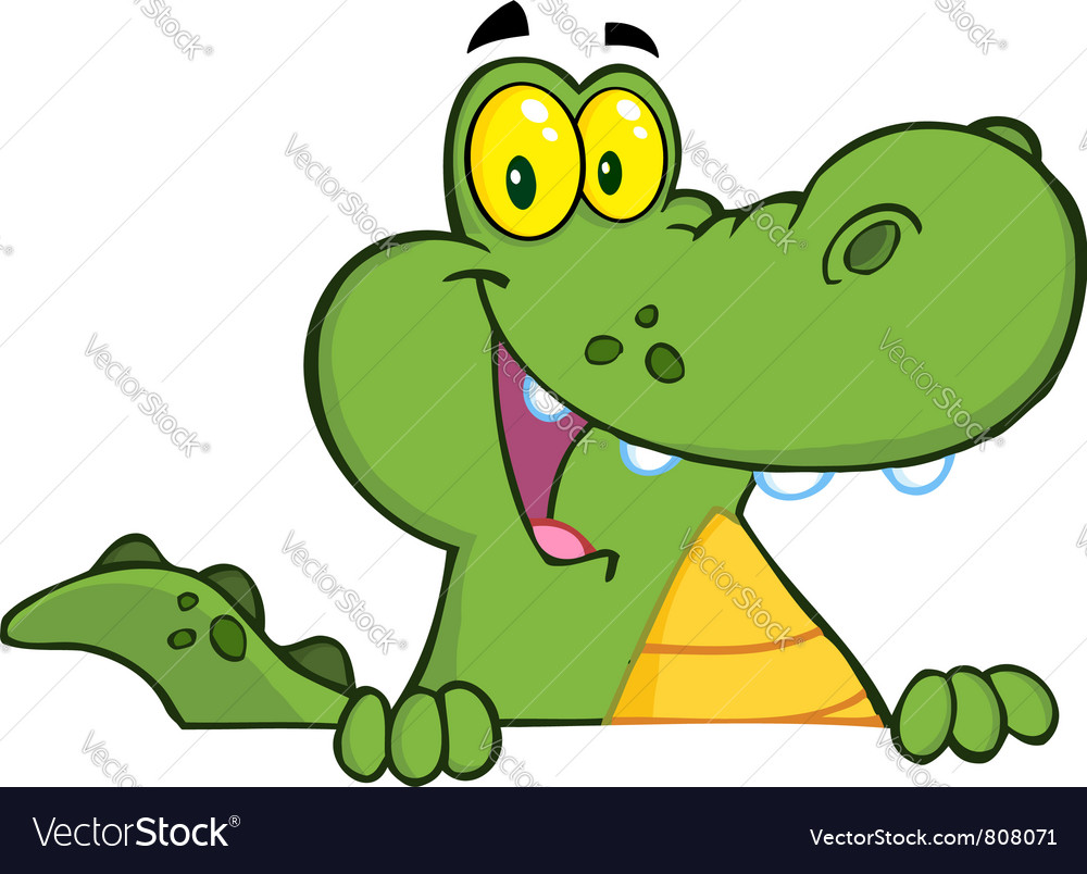 Alligator Or Crocodile Over A Sign vector image