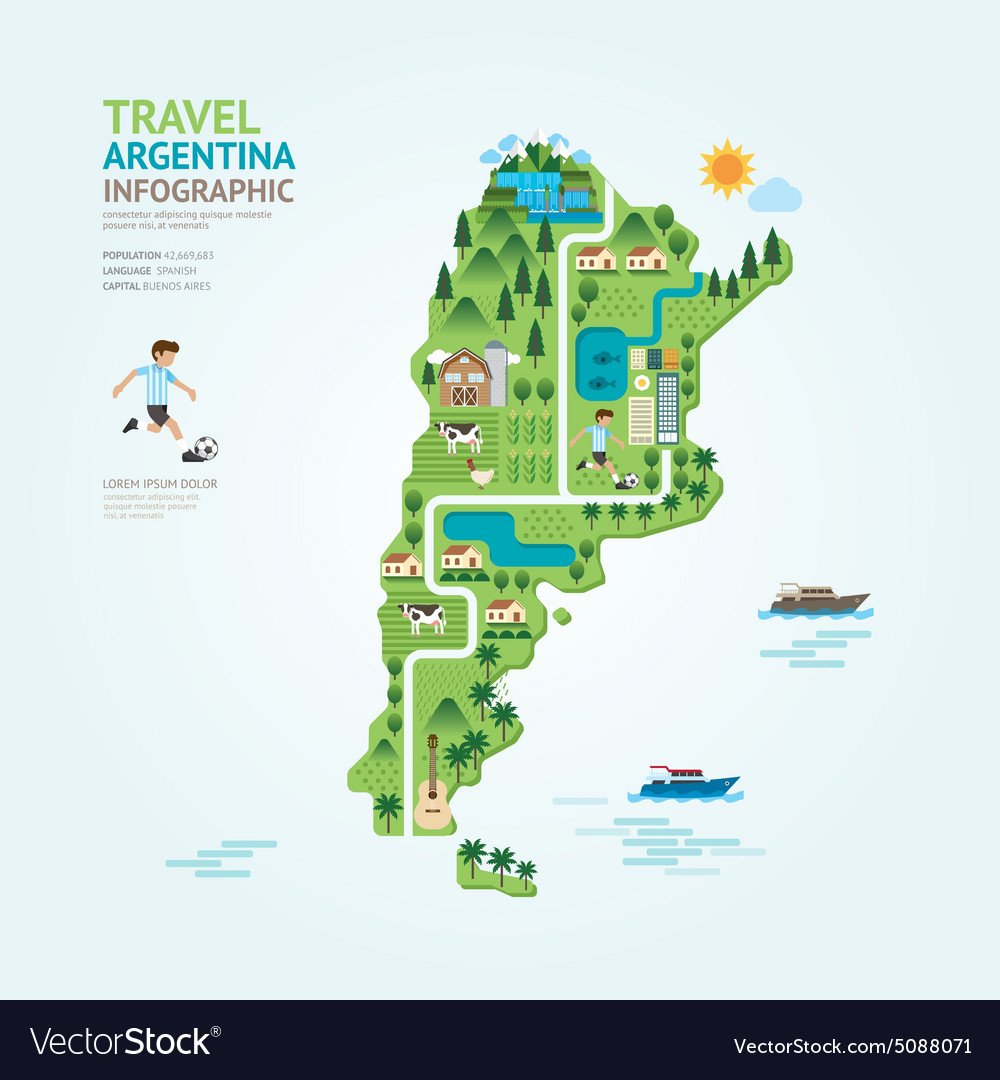 Infographic Travel And Landmark Argentina Map Vector Image - Argentina map world